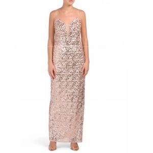 NWT Adrianna Papell Allover Rose Gold  Sequin Gown